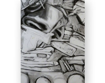 Original Charcoal Drawing, Modern Still Life of Fabric, Black and White, Handrawn, 18''x24'' on Paper