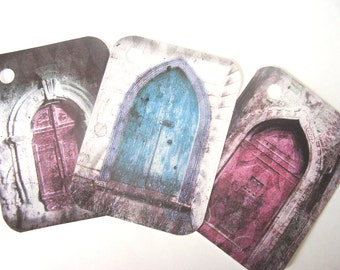 Gothic Door Tags ,  Set of 6  , Painted Door Tags , Blue Door Tags , Lavender Door  , Ancient Door Tags  - Gift Tags - Thank Yous