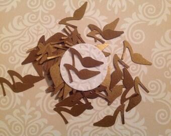 50 pc Golden Shoes Paper Confetti  Bridal Shower    Wedding   Reception