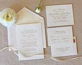 Letterpress Wedding Invitation - Bello Design - Calligraphy,Traditional, Elegant, Simple, Classic, Script, Custom, Formal, Destination