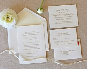 Letterpress Wedding Invitation - Bello Design - Calligraphy,Traditional, Elegant, Simple, Classic, Script, Custom, Formal, Destination