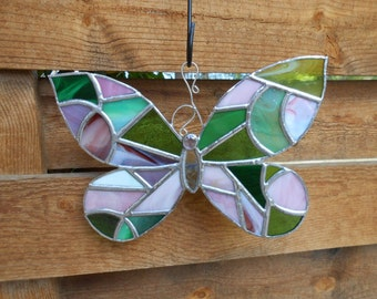 Stained Glass Butterfly - Suncatcher - Pink - Green - Clear - Spring - Summer