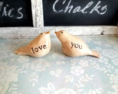 Message Birds -  Set of (2) - Love You - Knick Knack - Whatnot - Clay Bird - Collectible Figurine -Cream off White - Taupe - 1a