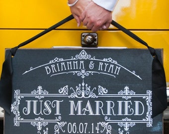 Personalized Just Married Sign - Customized with the Couple's name, Wedding date and Wedding colors