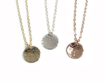 Hammered Disc Necklace, Dangling Hammered Circle Pendant, Hammered Disc Charm Necklace, 14kt Gold-Filled, Rose Gold Filled, Sterling Silver
