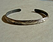 Cuff Bracelet in Sterling Silver with Swirling Leaves