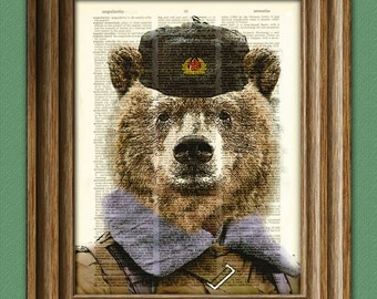 Mother Russia Soviet Brown Bear is strong dictionary page art print USSR