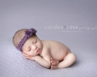Baby Crochet Headband in Dusty Purple