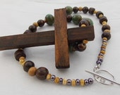SPECIAL CUSTOM ORDER Crucifix Cross Religious Jewelry Wooden Crucifix Beaded Statement Necklace Earthy Green Brown