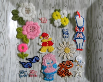 Vintage Collection of 17 Embroidered Appliques - Whales, Raggedy Ann, Clown, Flowers
