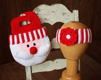 Girl CROCHET PATTERN  Santa Purse Christmas Bag and Striped Headband with Flower