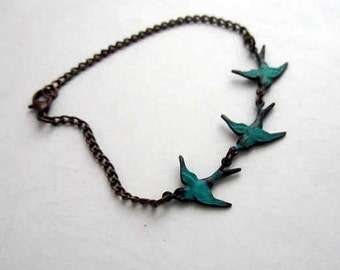 Three Patina teal blue bird charm antiquie bronze bracelet7.5inches