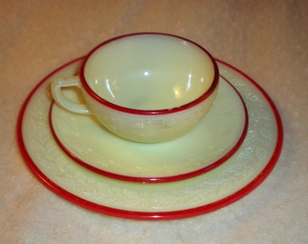 Sale! McKee Laurel French Ivory Trio with Red Trim  - Child's Toy Dishes