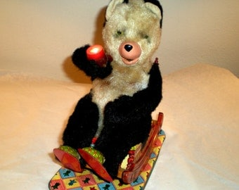1950's Battery Operated Tin Litho Grandpa Bear Toy