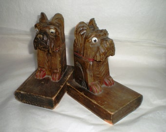 Carved Wood Vintage Bookend Set - Scottie Dog  - 1940's