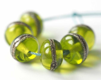 Spring Green Lampwork Beads - Set of 6 MTO Lampwork Glass Spacer Beads