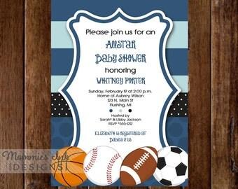 Mod Allstar Sports Theme Baby Shower Invitation - All Star Invite - Sports Invitation - Sports Party - PRINTABLE INVITATION DESIGN