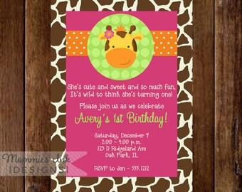 Girl Giraffe First Birthday Party Invitation - PRINTABLE INVITATION DESIGN