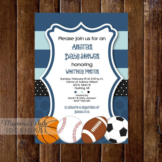 mod allstar sports theme baby shower invitation all star, Baby shower invitations