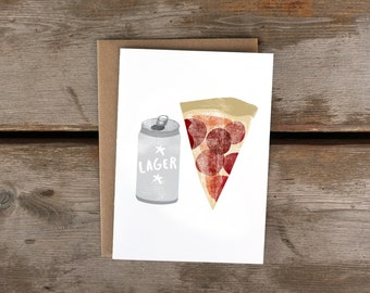 Lager + Pizza A6 Card