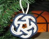 Nautical Christmas Ornament Sailor Knot Turks Head Navy Blue Outline Cotton