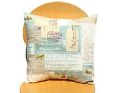 Pillow blue beige cream postcards 18 inch stamps air mail letter post mark design cushion
