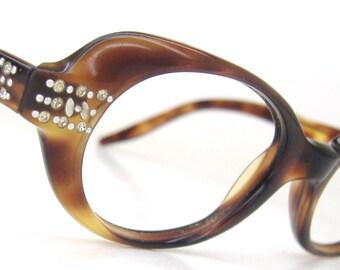 Vintage 60s Tortoise Eyeglasses Eyewear With Rhinestones Frame
