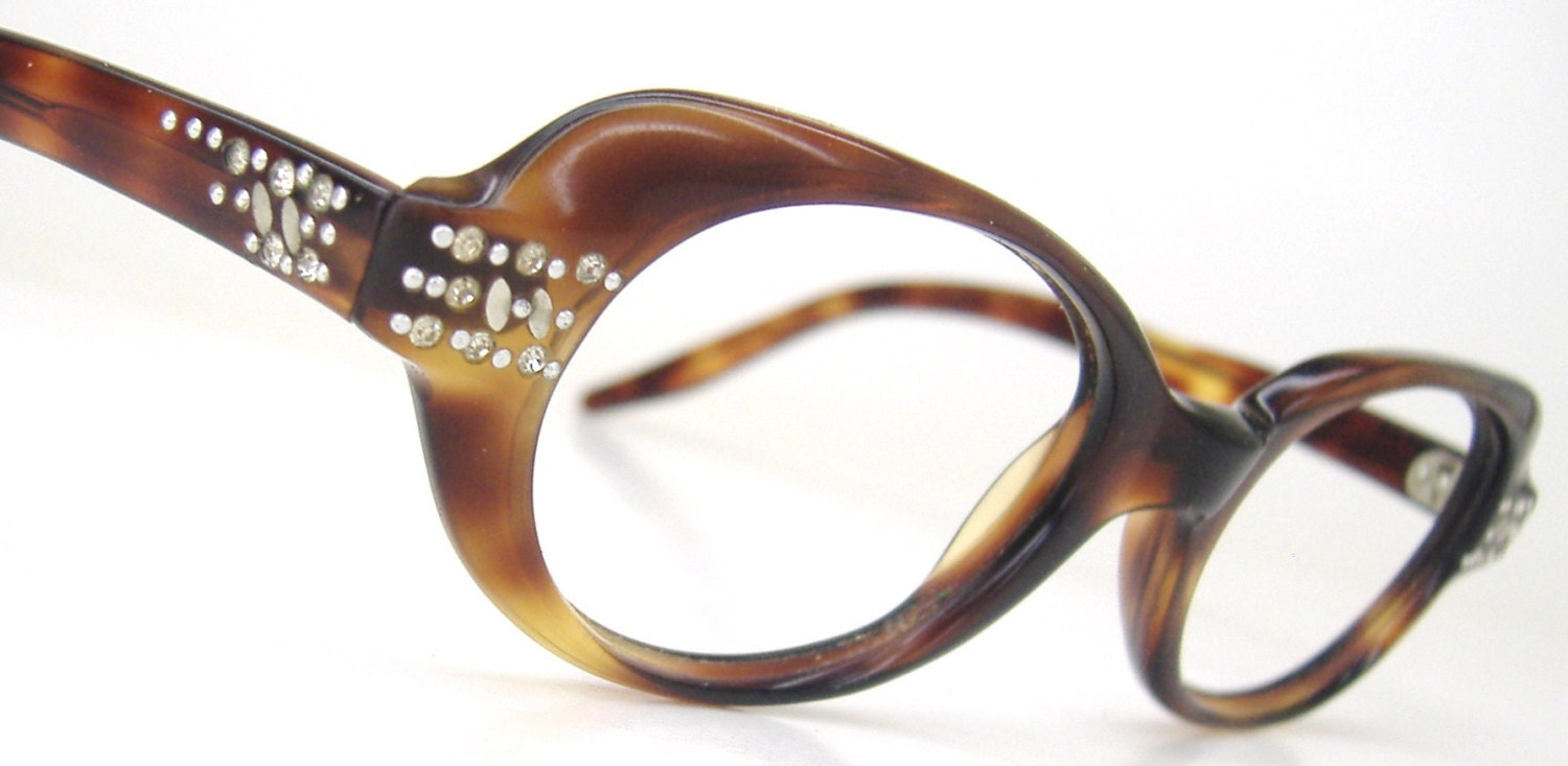 Glasses Frame Discoloration : Vintage 60s Tortoise Eyeglasses Eyewear With Rhinestones Frame
