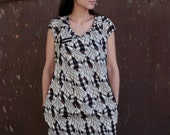 LAST SALE 50% off!!!! under 50, A line African print cotton  asymmetrical mini dress with pockets