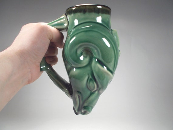 Ram  beer glass - Drinking Horn Style Historical Greek rhyton - Green Glaze -  Functional Stoneware by Chischilly Pottery