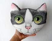 Throw Pillow, Handpaint Tuxedo Cat  pillow, stuffed animal, gift for cat lovers, nursery decor