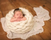 NEW Angel Basket Natural Undyed Reversible Wool Knit Newborn Photography Prop Bowl Unisex baby boy girl