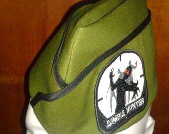 Zombie Hunter Cap - Army Green Military Hat - Vintage Style -  Flight Cap - Garrison Hat - Wedge Cap - Womens Hat -  Mens Cap - Unisex Hat