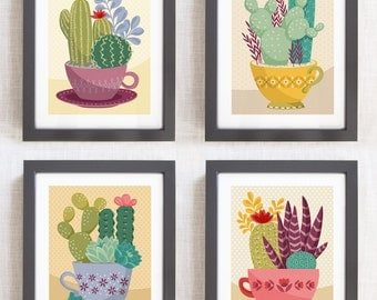 Cactus Wall Art Grouping Southwest Teacup Illustration for Home Decor