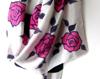 "Hand Painted Silk Scarf, Roses, Pink Red Black White, Floral Silk Scarf, 71"" x 18"", Gift For Her"