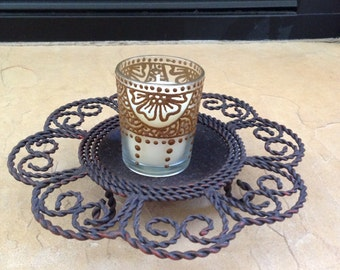 Party Votive Candle Decorated with Henna - OOAK - Unique Gift
