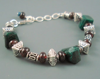 Emerald and Garnet Bracelet with Sterling Silver Beads