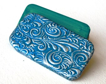 Pill Box Teal and Silver Rococo