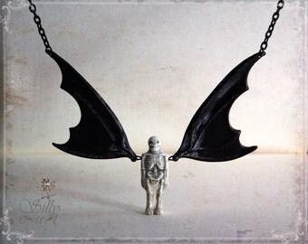 bat necklace, halloween necklace, SKELEWINGS, gothic, halloween, batwing necklace, skeleton necklace, anatomical, bat, batman, vampire