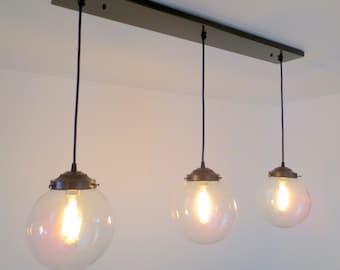 Biddeford. Modern LIGHT Trio of Large Globe Pendants with Edison Bulbs