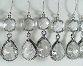 Set of 5 Crystal Glass Silver Braid Bridesmaid Earrings, Bridesmaid Jewelry, Wedding Earrings, Bridesmaid Gift, Bridal Set (M402S5)