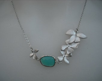 matte white gold plated Fourfold Wild Orchid Flowers necklace - Aqua Blue Bezel