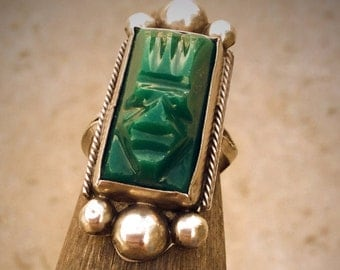 Vintage Mexican sterling silver green onyx tribal tiki ring size 7 8
