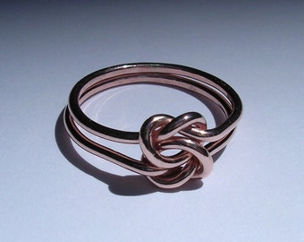 Pure Copper Double Love Knot Ring in 16, 14 or 12 Gauge