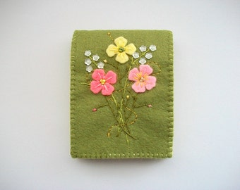 Needle Book Green Felt Needle Keeper with Hand Embroidered Felt and little White Sequin Flowers