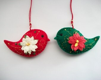 Felt Ornaments Holiday Red and Green Felt Bird Hanging with Mulberry Paper Poinsettia Hand Embroidered Handsewn