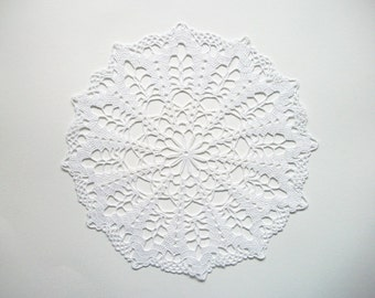 Crochet Doily White Cotton Lace with Open Flower Center Heirloom Quality