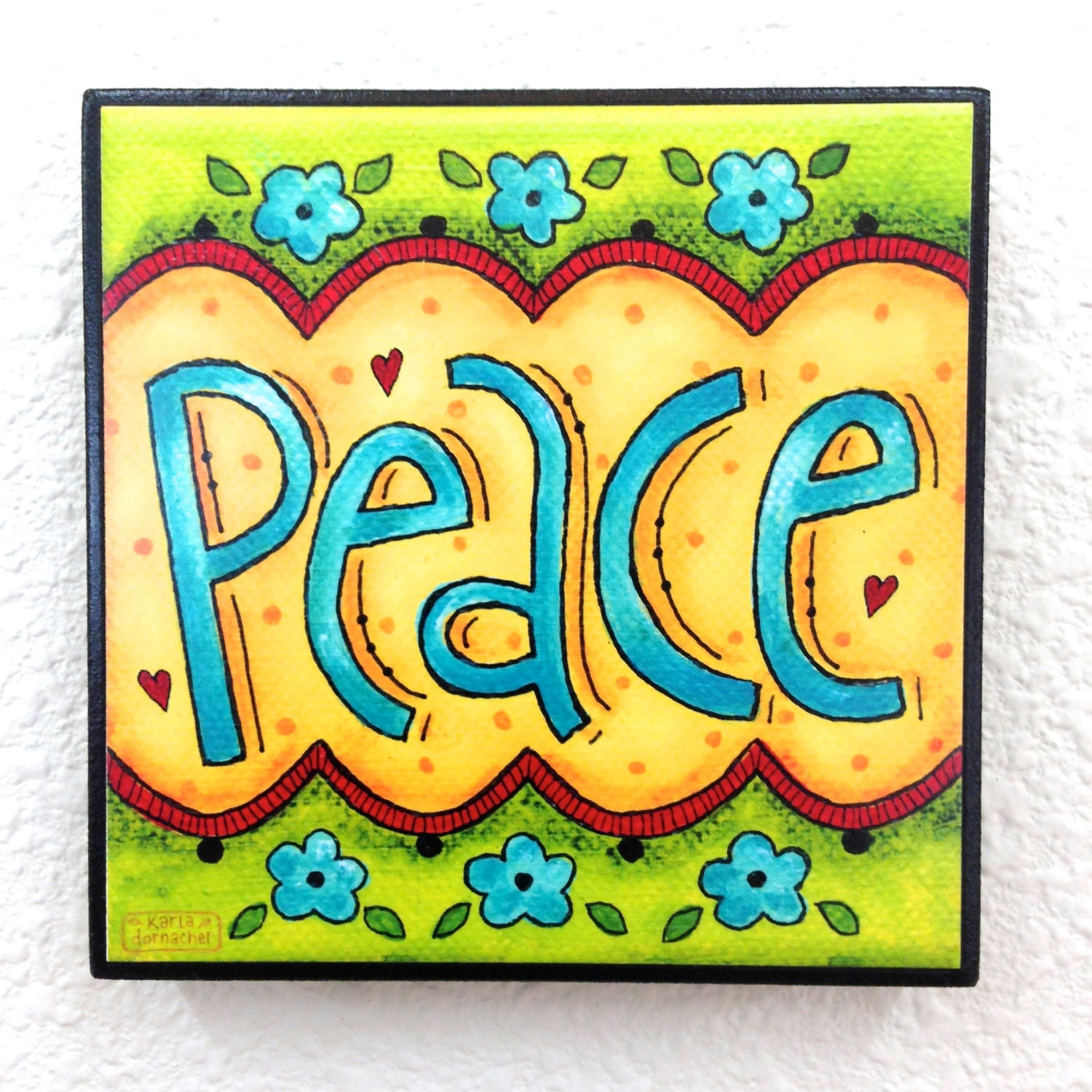 PEACE Word Art Block Wall Decor or Stackable by karladornacher