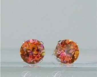 Mystic Topaz Sterling Silver Studs Orange 6mm 2ctw