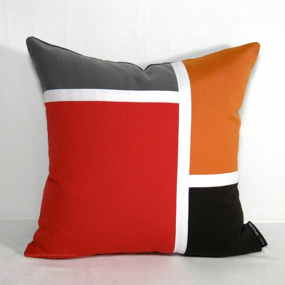 Outdoor Pillow Cover Mid Century Modern Pillow Cover Red